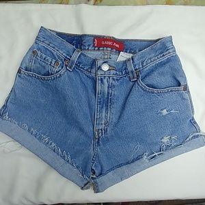 Vintage Levi's high rise distressed, denim shorts